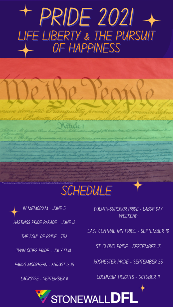 Stonewall DFL Pride 2021 Schedule (as of July 6)