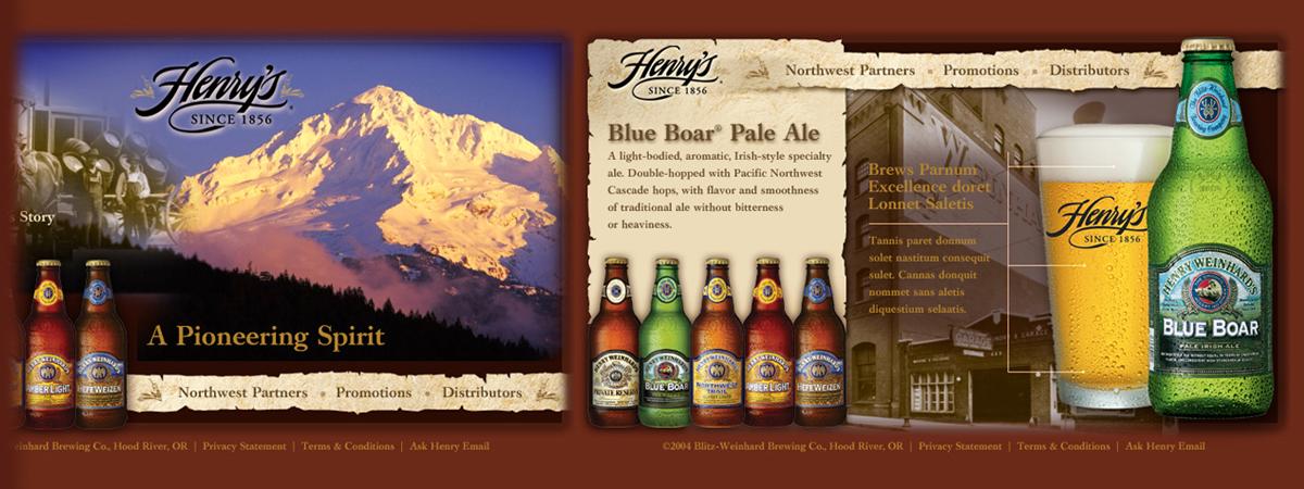Henry Weinhard Brewing Co., Hood River, Oregon | Comp layout for website redesign