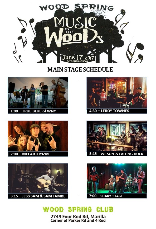 Main Stage Schedule – Music In The Woods – June 17