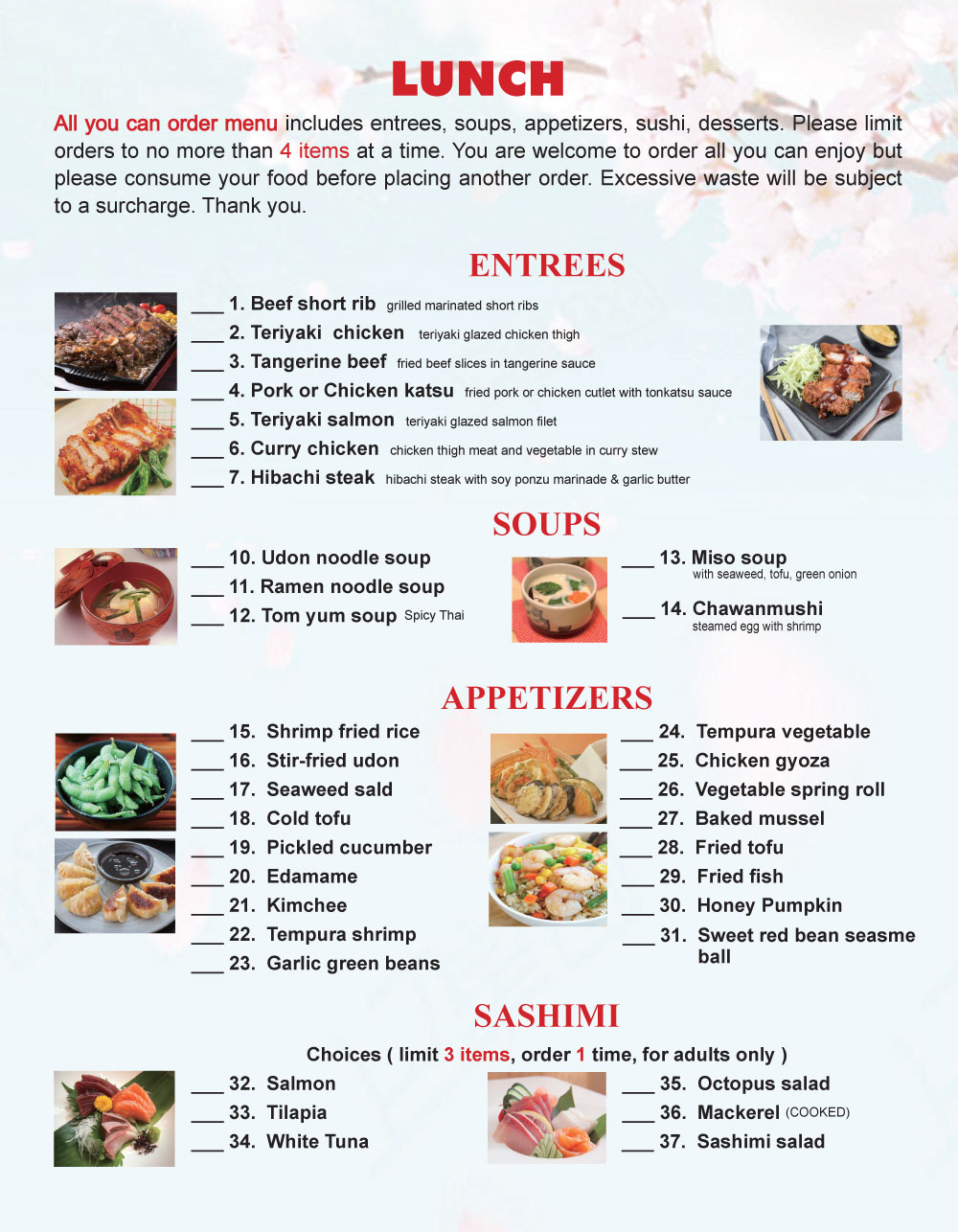 Tokyo One Lunch Menu