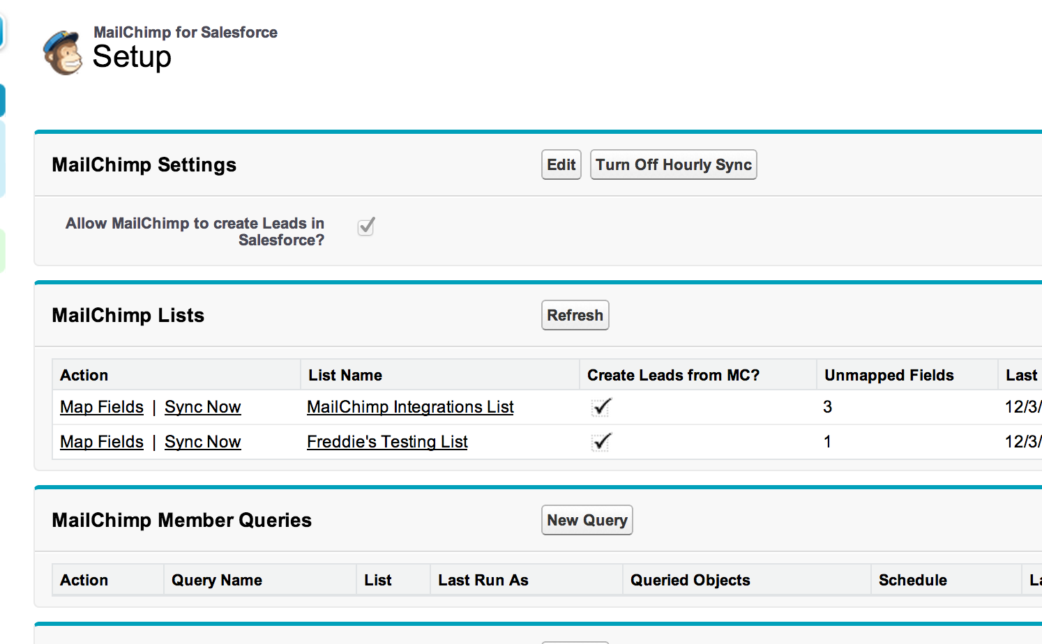 mailchimp for salesforce screenshot