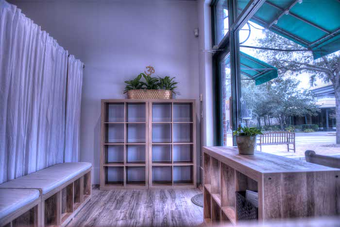 Reception area with cubbies for storage