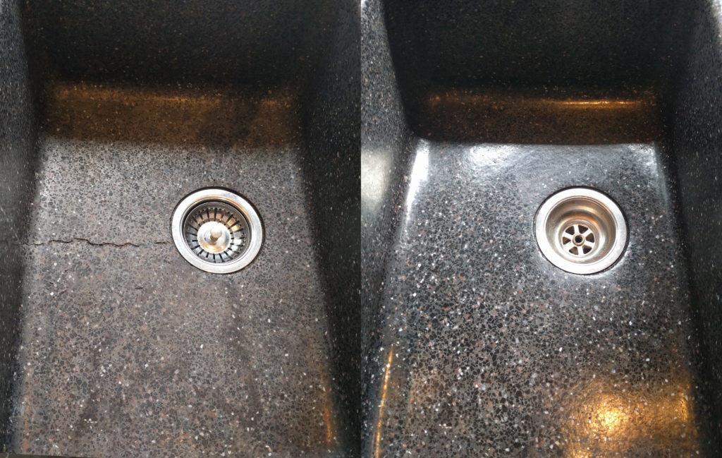 Completely restored terrazzo sink
