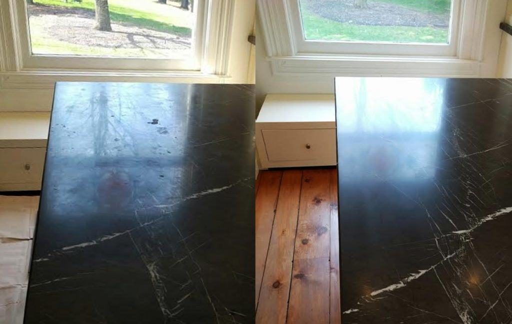 Side by side of original damage and restored counter top