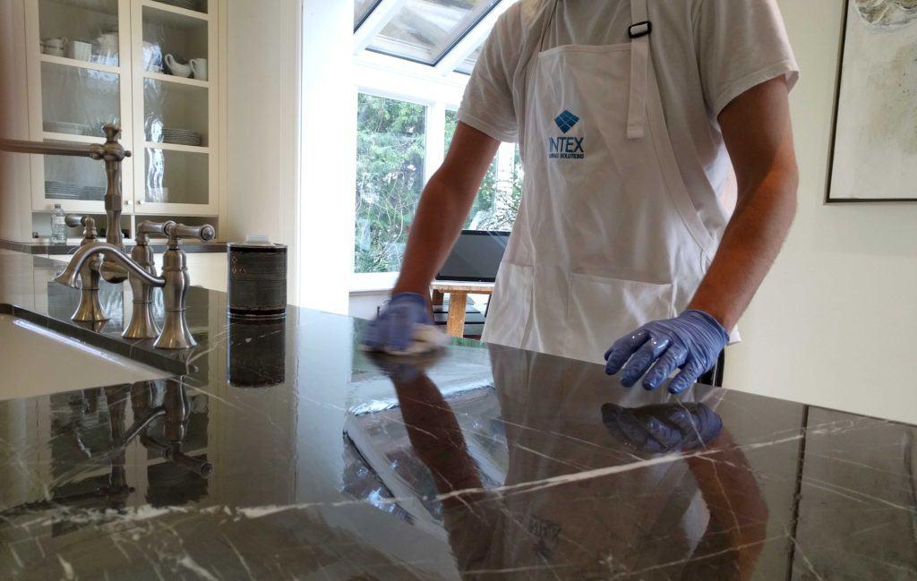 Heavy application of penetrating colour enhancing sealer