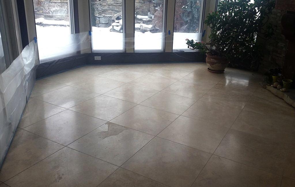 before photo of dull, worn floor