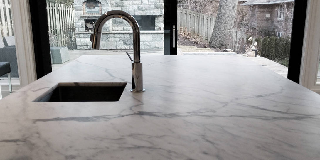 Deep hone on marble counter top