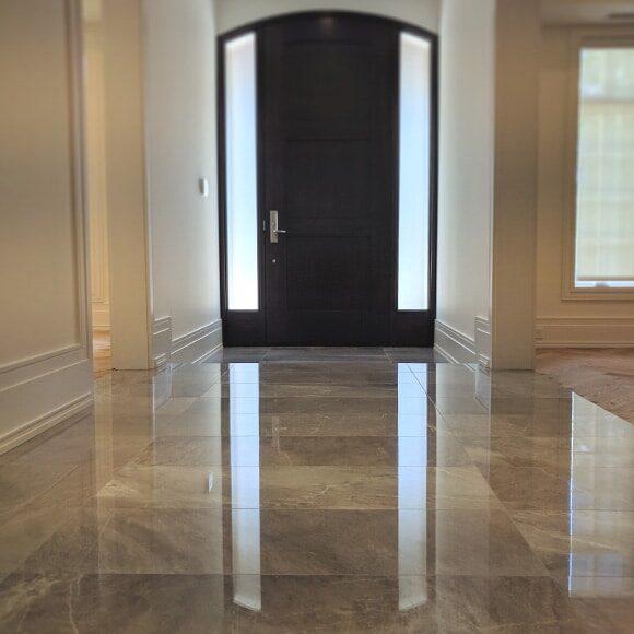 Polished marble foyer
