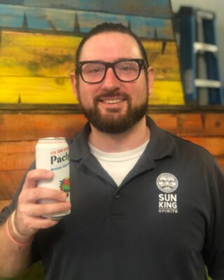 """Time to meet today's Sun King Crew: David S!  1️⃣ David has been the Bar Manager at @sunkingspirits since December 2018. 🍹🍸 . . 2️⃣ His go-to Sun King beer is Pachanga but Cherry Busey is the one that he most looks forward to each release. 🍺🍒 . . 3️⃣ While an under grad at Marian University, David spent 6 weeks studying abroad in England, Scotland and France. """"Best 6 weeks ever and desperate to go back!""""✈️🗺 . .  4️⃣ His favorite thing about his job is working with a great team to bring unique and new offerings to an already established brand. The challenge of bringing new ideas and concepts to the table while making sure we stay true to the fantastic selection of craft beer this company has to offer is an incredibly fun opportunity. 🥃🍻 . . 5️⃣ If he wasn't in the restaurant biz, he would be a sports journalist. Analyzing and discussing sports has been a long time passion. 🏟🏀🏈⚽️ #sunkingbrewery #meettheskbcrew #cheers2tenyears #forcraig #sunkingspirits"""
