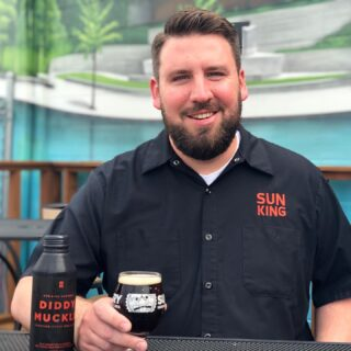 """The Sun King Crew is not limited to our brewery locations! Today we are highlighting Robert - who you will see at our @sunkingspirits location in Carmel, IN!  1️⃣ Robert joined our team as our Service manager 10 months ago and helped open the Sun King Spirits tap room and food hall. . 2️⃣ When he's feeling """"frisky"""" you'll see him imbibing on a Diddy Muckle. Like others on our staff his go-to is Pachanga. 🍺 . 3️⃣ Robert has been married for 6 years with 2 cats and just added a new puppy to his family, Pepper Louise. Robert also loves restoring, refurbishing, and selling old tools...especially sharp ones! ⚒⛏ . 4️⃣ He loves working with like minded folks that respect each other's individuality. He also enjoys getting to know guests and his grandma is a regular at SKS. 🌟 . 5️⃣ If Robert was not working for Sun King, he would be camping deep in the forest, making no money, but he'd be happy as could be. 🌲🏕🌲 #meettheskbcrew #cheers2tenyears #sunkingbrewery #🌞👑🍺"""