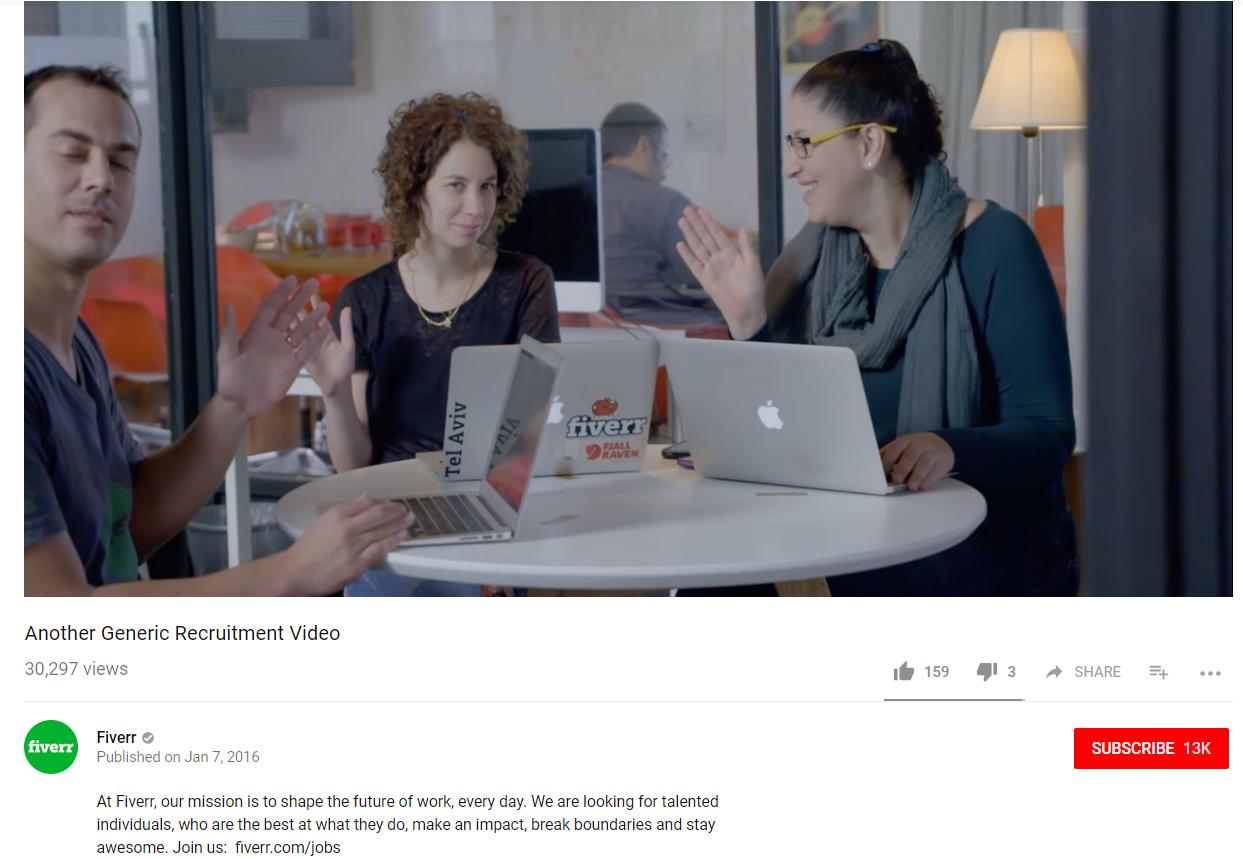 Fiverr youtube Creative Recruitment Marketing Ideas