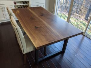 custom walnut live edge dining table custom furniture maker mn