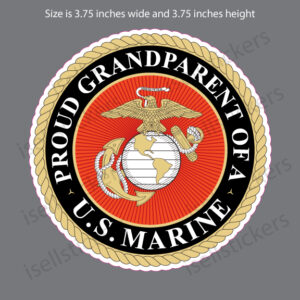 Proud Grandparent of a US Marine Military Bumper Sticker Window Decal
