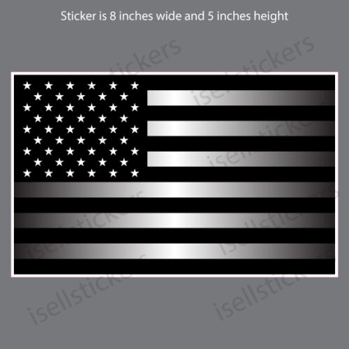 American Flag Reflective Subdued Black White