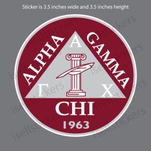 Alpha Gamma Chi Crest Car Window Decal Bumper Sticker