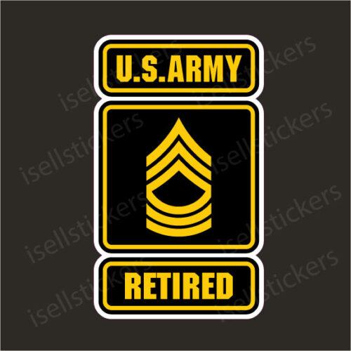 Army Logo Retired Master Sergeant MSG E8 Bumper Sticker Window Decal