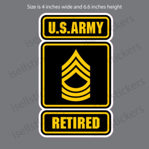 Army Logo Retired Master Sergeant MSG E8 Sticker Decal