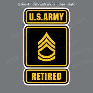 Army Logo Retired Sergeant First Class SFC E7 Bumper Sticker Window Decal