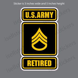 Army Logo Retired Staff Sergeant E6 SSG Bumper Sticker Window Decal