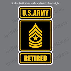 Army Logo Retired Sergeant Major SGM E9 4x6.6