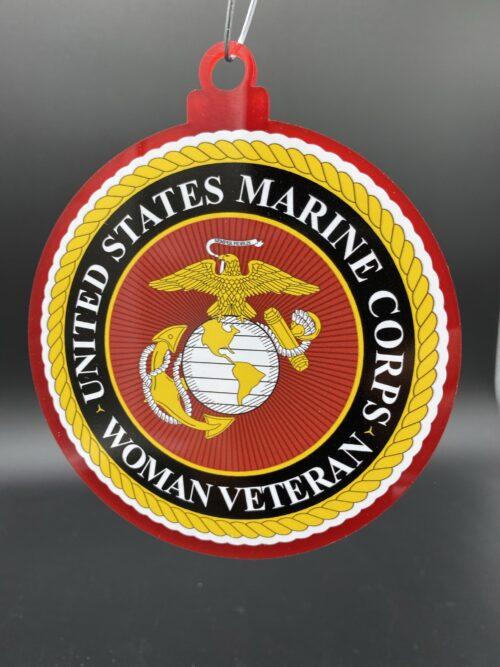 US Marine Corps Woman Female Veteran Christmas Tree Ornament Double Sided
