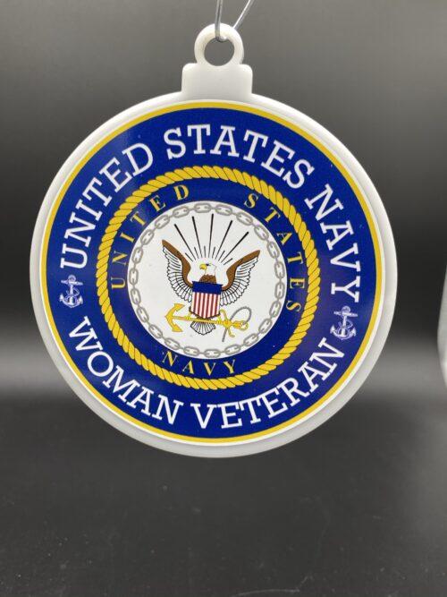 US Navy Woman Female Veteran Christmas Tree Ornament Double Sided