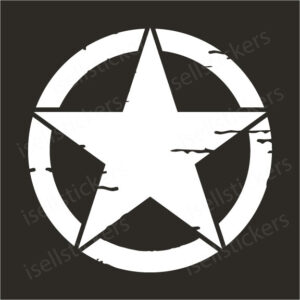 Willys Jeep Star WW2 Military Estrella Warbirds Decal Sticker