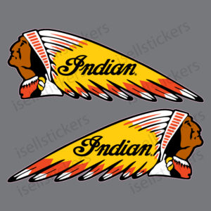 Indian Motorcycle Chief War Bonnet Gas Tank Bike Sticker Emblem Decals Left and Right Pair Red Yellow