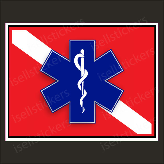 Rescue Diver Flag Star of Live EMT EMS Caduceus Decal Sticker