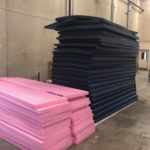 pink and black foam stacks