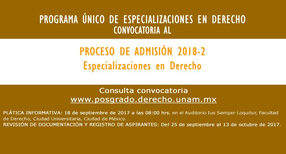 Programa único de especializaciones en derecho 2018