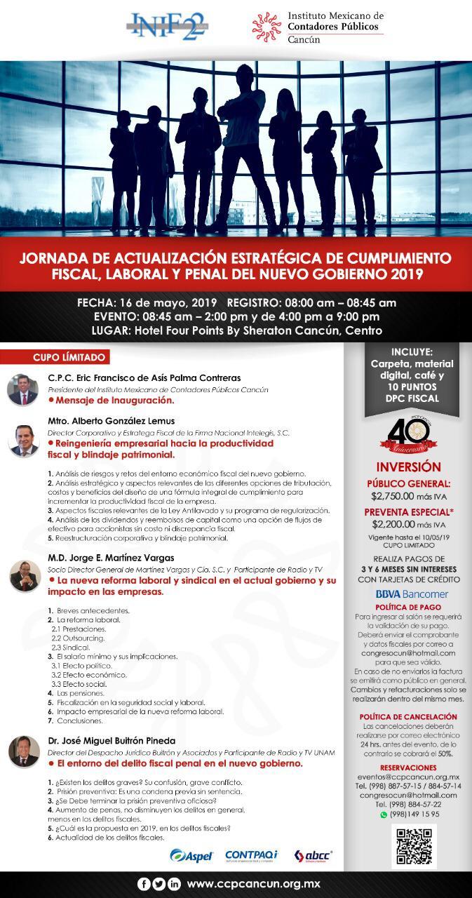 """No te pierdas la Conferencia del Lic. Miguel Buitrón Pineda """"El entorno del delito fiscal penal en el nuevo gobierno"""" #IMCP #CancúnMéxico"""