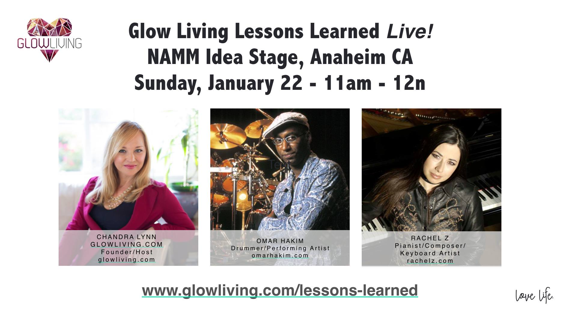 Glow Living's Lessons Learned Goes Live with Omar Hakim & Rachel Z