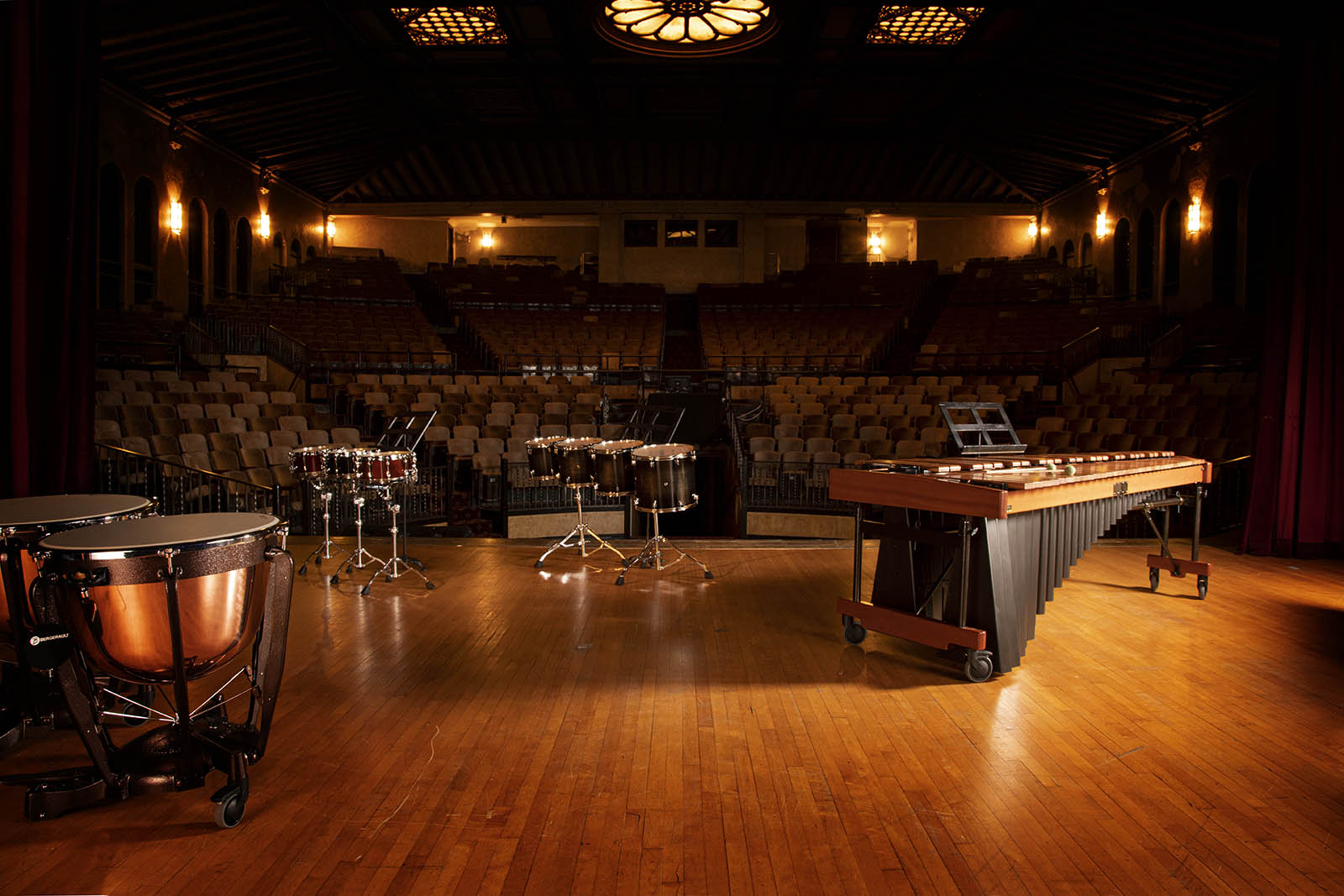 Percussion Instruments on Empty Stage