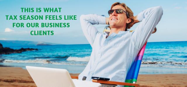 Copy of business man on beach