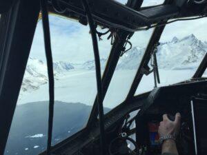 "NASA's ""Operation Icebridge,"" flying over a glacier at 1500 feet."