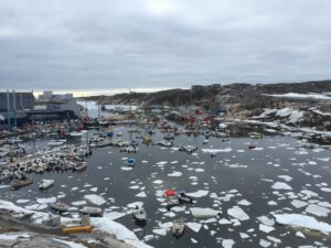 Some scattered sea ice in Ilulissat's small harbor.