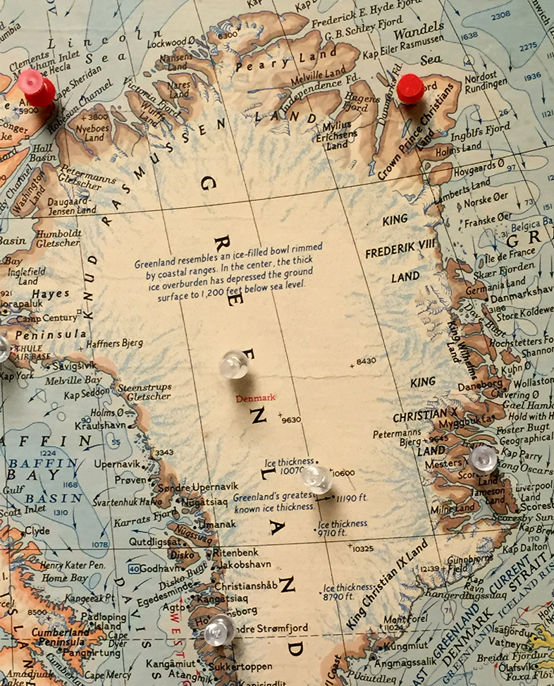 Ice at the end of the world map