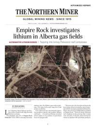 The Northern Miner - Empire Rock investigates lithium in Alberta gas fields_Page_1s