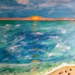 Sunset on the Shore - mixed media painting by Lori Thompson