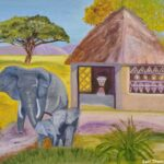 Painting of a family of elephants by Lori Thompson titled Family Affair
