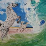 Painting of white horse rearing up at a breaking wave on the beach