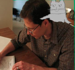Pelican Family Series Illustrator Chris Castro drawing the Character Cat