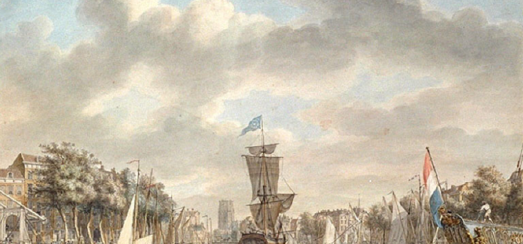 This is a painting of Rotterdam Harbor in 1795. It is where my ancestors boarded the ship Edinburgh to sail to America.