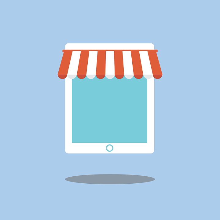 A vector image of a white tablet with a business tent on it.