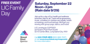 Mount Sinai Queens LIC Family Day @ LIC Landing by COFFEED (at Hunters Point Park South)