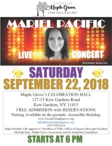 Live Concert with Mariel Pacific in Kew Gardens @ The Center at Maple Grove Cemetery | New York | United States