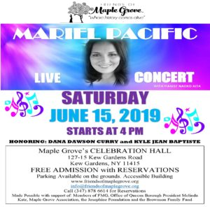Mariel Pacific: Live in Concert in Kew Gardens @ The Center at Maple Grove | New York | United States