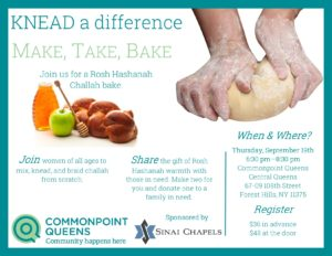 Rosh Hashanah Challah Bake @ Commonpoint Queens Central Queens