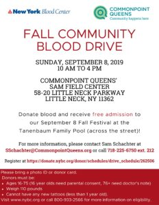 Fall Community Blood Drive @ Commonpoint Queens Sam Field Center